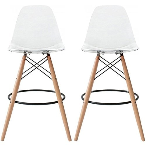 2xhome 28 Inch Modern Plastic Chair Dsw Clear