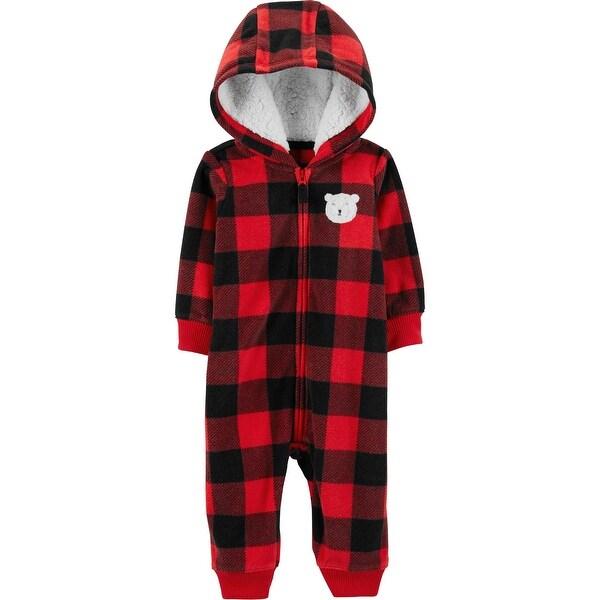 f19191564607 Shop Carter s Baby Boys  Fleece Buffalo Check Jumper - Red - Free ...