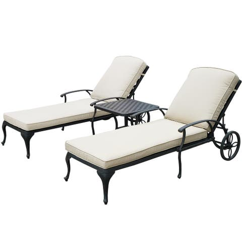 3Pcs Adjustable Outdoor Chaise Lounge Chair Furniture Set For Patio, Poolside W/uv-Resistant