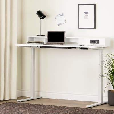 South Shore Helsy Adjustable Height Standing Desk with Built In Power Bar