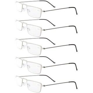 Eyekepper 5-Pack Stainless Steel Frame Half-eye Style Reading Glasses Silver +2.25