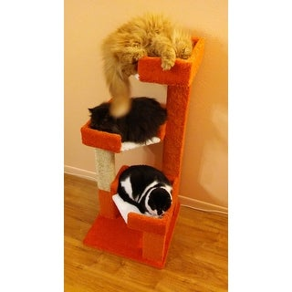 New Cat Condos Solid Wood 46-inch Triple Kitty Pad Cat Tree