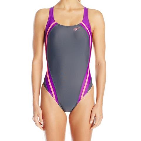 Speedo Gray Womens 8 Colorblock Quantum Splice One-Piece Swimsuit