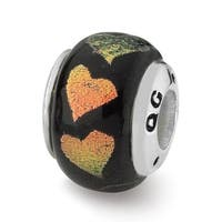 Sterling Silver Reflections Orange/Green Hearts Dichroic Glass Bead (4mm Diameter Hole)