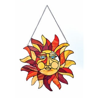 "Sun Face Stained Glass Window Panel - 15"" x 15"" - 15 in. x 15 in."