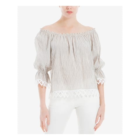 MAX STUDIO Womens Beige Striped 3/4 Sleeve Peasant Top Size L
