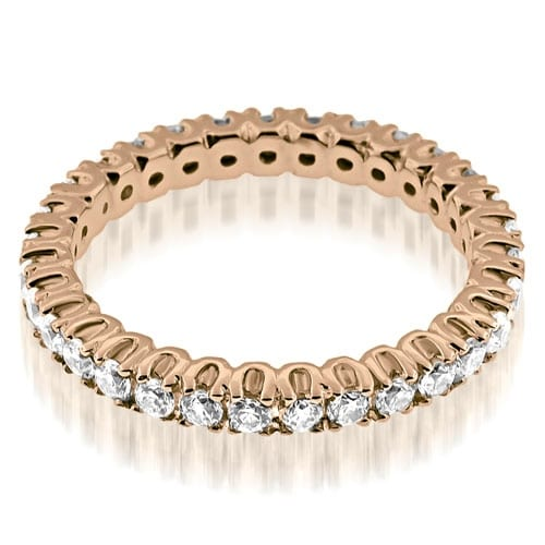 0.72 cttw. 14K Rose Gold Round Cut Diamond Eternity Band Ring