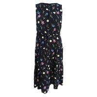 Lauren by Ralph Lauren Women's Floral-Print Midi Dress (18, Black Multi) - Black Multi - 18
