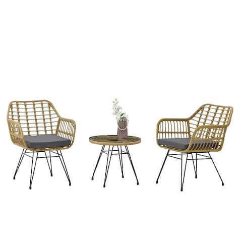 Modern Rattan Coffee Chair Table Set 3 PCS, Outdoor Furniture Rattan Chair,Garden SetTwo Chair + One Table