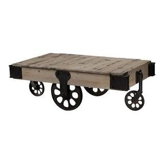 "Sterling Industries 129-1002 Industrial 51"" Width Coffee Table - washed pine/restoration black"