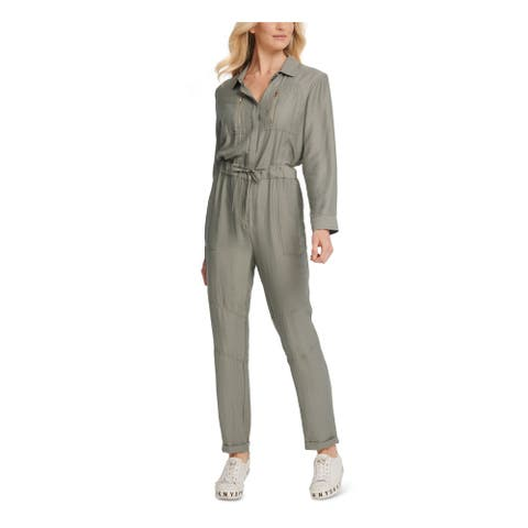 DKNY Green Long Sleeve Blouse Jumpsuit Size 2