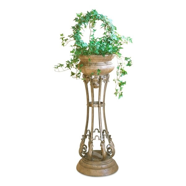 Offex Traditional Round Metal Jardiniere in Heritage Finish - Multicolor
