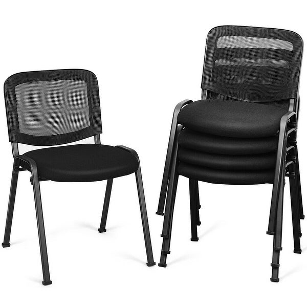 Gymax Set of 5 Conference Chair Mesh Back Office Waiting Room Guest Reception Black