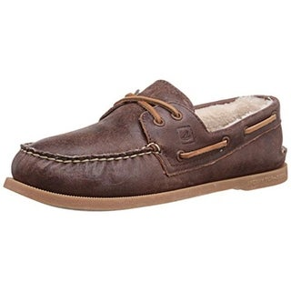 Sperry Mens Leather Moc-Toe Boat Shoes