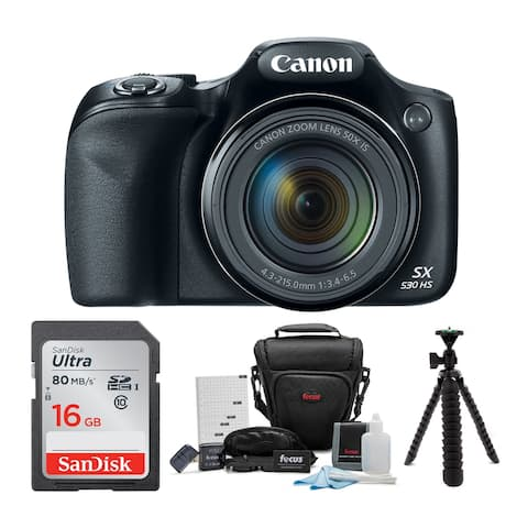 Canon Powershot SX530 HS Camera with 16GB Deluxe Accessory Bundle