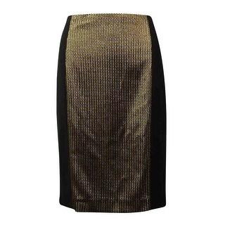 Anne Klein Women's Metallic Braid Panel Pencil Skirt - 4