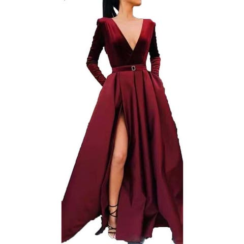 Women's Long V Long Sleeve Gown Slit Long Skirt