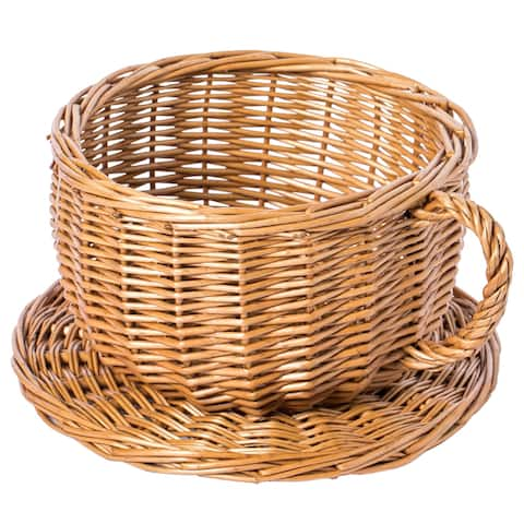 Wicker Saucer Coffee Mug Cup Decorative Gift Basket Desk Organizer