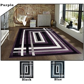 2x7.2 5.3x7.2 8x10 Feet Rug Carpet Area Rug Purple Blue Black Polyester Modern Contemporary 3 Dimensional Hand Carved