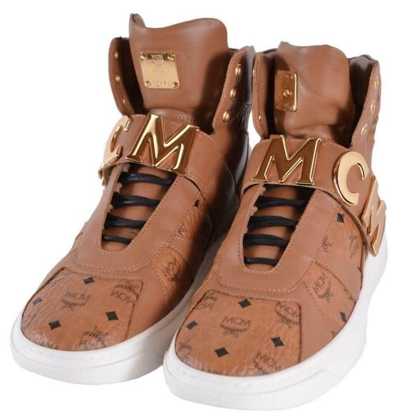 MCM Men's Cognac Leather Visetos Logo