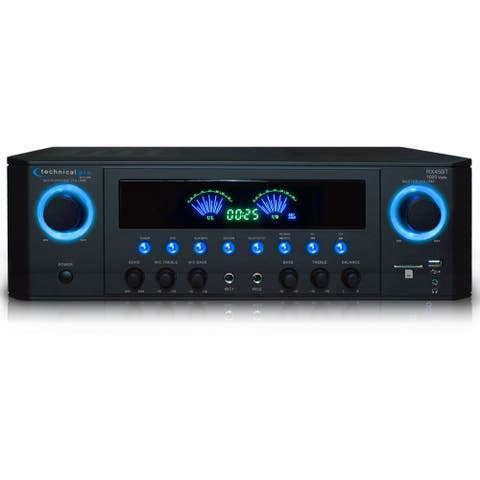 Technical Pro Professional 1000 Watts Bluetooth Receiver with USB SD Card Inputs, 2 Mic Inputs, Recorder, and Wireless Remote