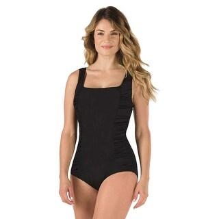 Speedo Womens Shirred Princess One Piece Swimsuit Black, Swimwear Swim Suit