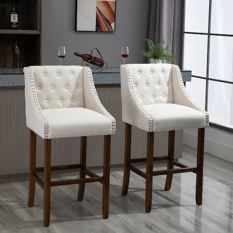 HOMCOM Modern Mid-Back Bar Stools with Nailhead Tufted Upholstery, Counter Dining Chair Set of 2
