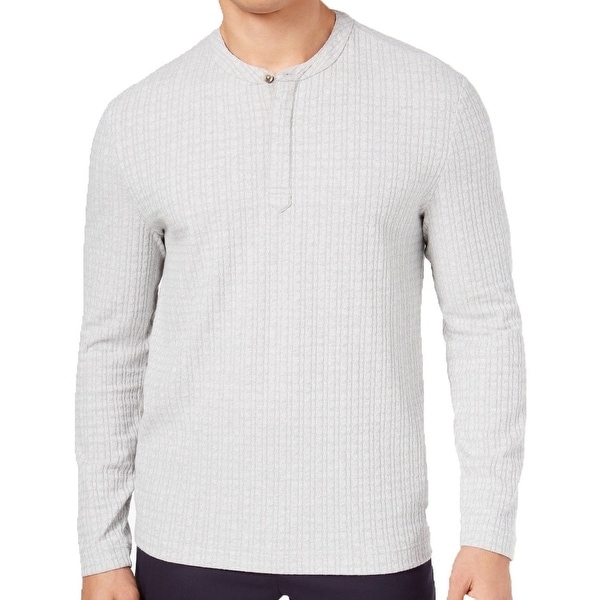 1262b4676 Shop Tasso Elba Heather Mens Cable Knit Henley Shirt - Free Shipping On  Orders Over $45 - Overstock - 26902267