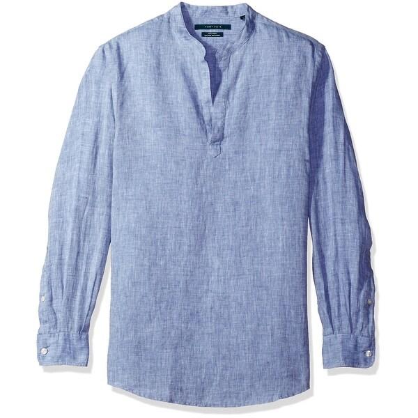 Perry Ellis New Colony Blue Mens Size Medium M Chambray Popover Shirt