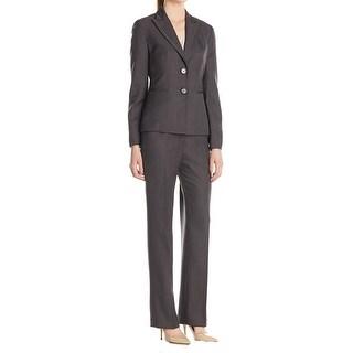 Le Suit NEW Gray Women's Size 4 Pinstriped 2-Button Pant Suit Set