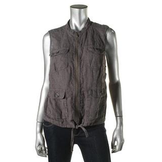 Caslon Womens Petites Linen Lightweight Casual Vest - pm