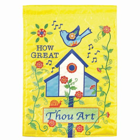 """Yellow and Blue How Great Thou Art Blue Birdhouse Outdoor Garden Flag 18"""" x 13"""""""