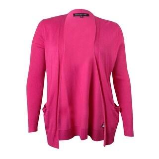 Jones New York Women's Long Sleeve Open Front Sweater Jacket - Fire Red - l