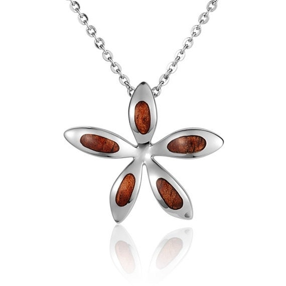 "Plumeria Necklace Koa Wood Sterling Silver Pendant 18"" Chain"