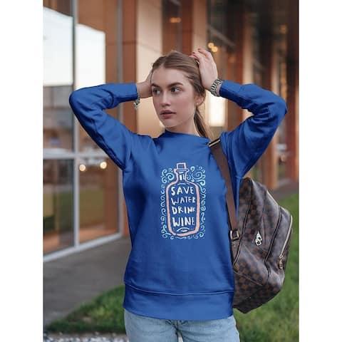 Drink Wine Design Sweatshirt Women's -Image by Shutterstock - Royal