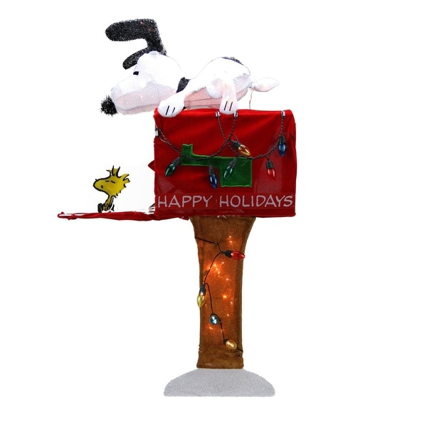 "36"" Pre-Lit Peanuts Snoopy with Red Mailbox Animated Christmas Outdoor Decoration - Clear Lights"