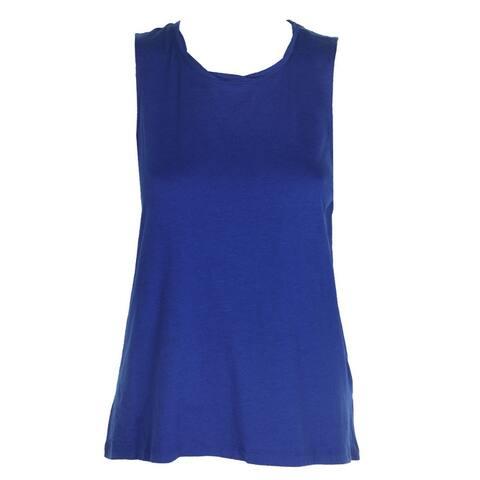 Dkny Sport Lapis Blue Sleeveless High-Low Logo Tank Top XS