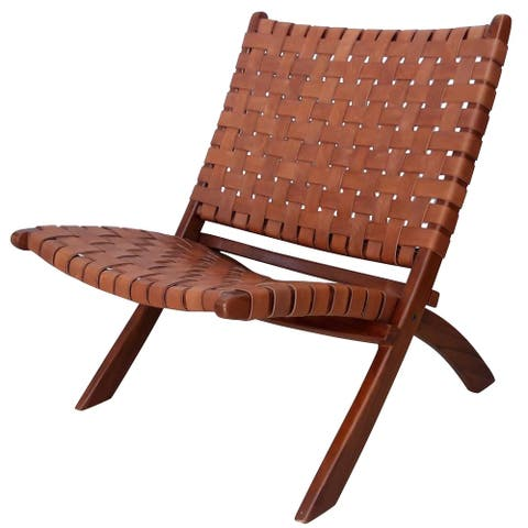 StyleCraft Brown Basket Weave Leather Lounge Chair