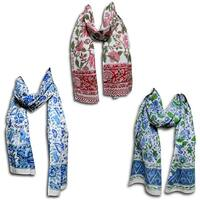 Women's Fashion Lightweight Long Big Floral Scarf Hand Block Print Wrap Soft Cotton Neck Head Stole