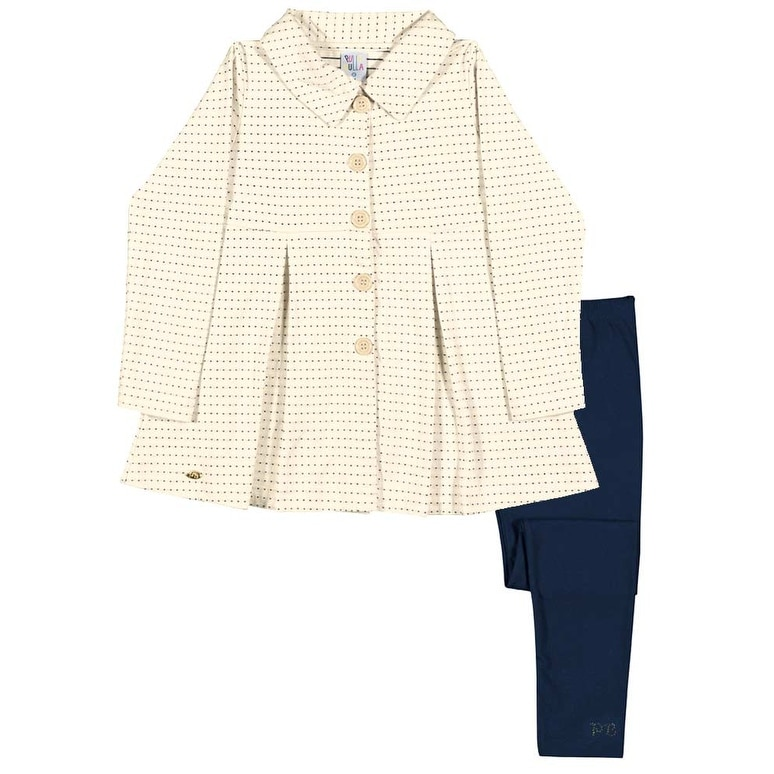 Girls Outfit Pea Coat Jacket and Leggings Kids Set Pulla Bulla Sizes 2-10 Years - Thumbnail 0