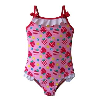 Girls One Piece in Multi-Colored Strawberry Print with Bows & Ruffles