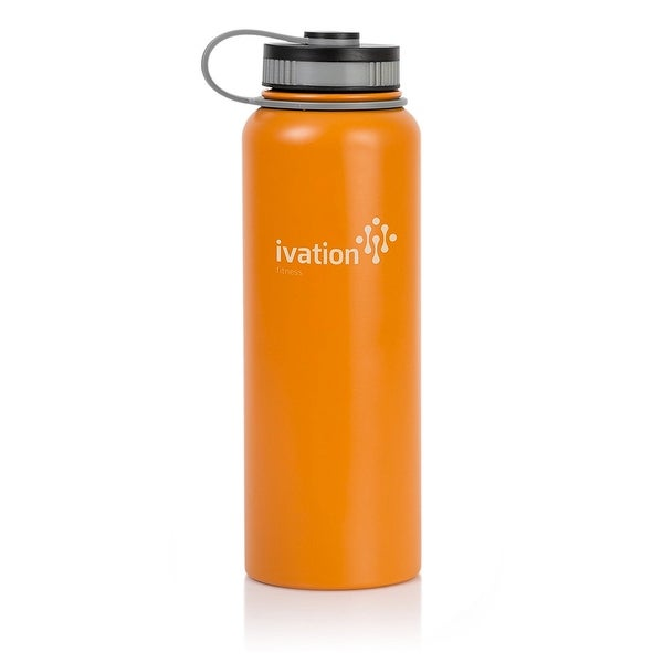 Ivation Flask Insulated Stainless Steel Water Bottle with Wide Mouth and 40-Ounce Capacity – Lightweight and BPA Free (Orange)