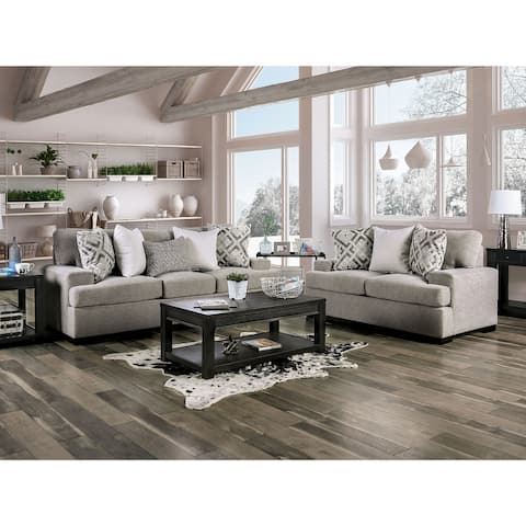 Furniture of America Fynn Transitional Grey 2-piece Living Room Set