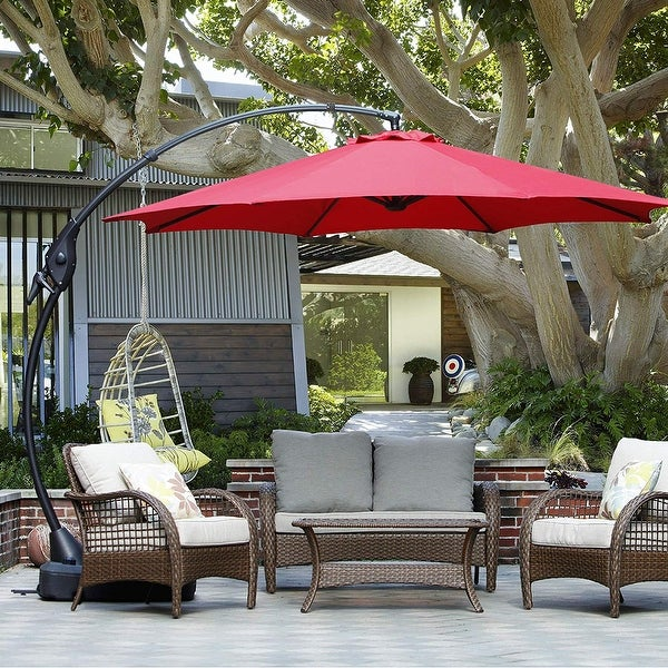 Clihome Aluminum Curved Cantilever Patio Umbrella with Base. Opens flyout.