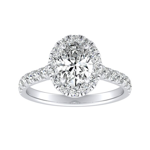 Auriya Platinum Classic Oval-cut 7/8cttw Halo Diamond Engagement Ring. Opens flyout.