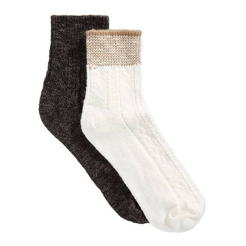 Hue Womens 2-pk Striped Shortie Boot Socks One Size Brown and Cream