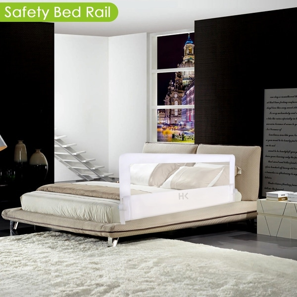 HK 56in Swing Down Safety Bed Rail Hide Away Extra Long Bed Mesh Guard Rails for All Ages Most Beds