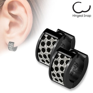 Pair of Black IP Square Black Dots Sand Sparkle Stainless Steel Hoop Earrings