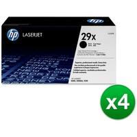 HP 29X High Yield Black Original LaserJet Toner Cartridge (C4129X) (4-Pack)