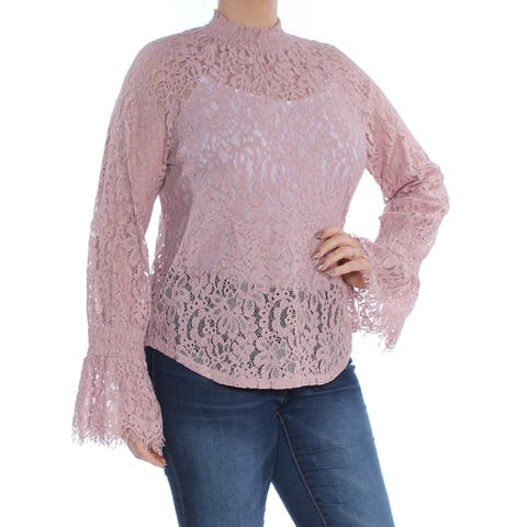 BAR III Womens Purple Lace Bell Cuff Bell Sleeve Turtle Neck Top Size: L